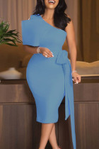 Sky Blue Elegant Solid Split Joint With Bow Oblique Collar Pencil Skirt Dresses