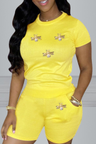 Yellow Casual Print Split Joint O Neck Short Sleeve Two Pieces