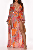 Pink Sweet Print Split Joint Slit V Neck Long Dress Dresses