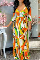 Colour Casual Print Bandage Split Joint V Neck Straight Dresses