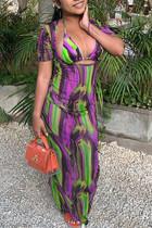 Purple Sexy Print Hollowed Out Split Joint Frenulum Halter Straight Dresses