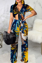 Blue Sexy Print Bandage Split Joint V Neck Short Sleeve Two Pieces