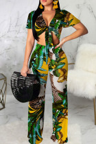 Green Sexy Print Bandage Split Joint V Neck Short Sleeve Two Pieces
