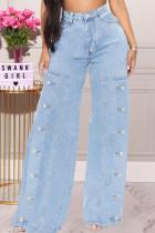 Baby Blue Street Solid Split Joint Buttons High Waist Straight Denim Jeans