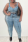Baby Blue Sexy Solid Split Joint Square Collar Plus Size Two Pieces