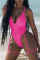 Red Sexy Solid Hollowed Out Split Joint Swimwears