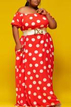 Red Sweet Print Polka Dot Split Joint Off the Shoulder A Line Plus Size Dresses