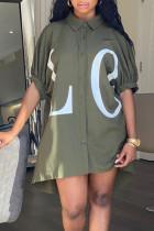 Green Casual Letter Print Split Joint Turndown Collar Shirt Dress Dresses