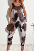 Black Sexy Patchwork Tie-dye U Neck Harlan Jumpsuits