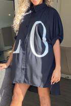 Black Casual Letter Print Split Joint Turndown Collar Shirt Dress Dresses