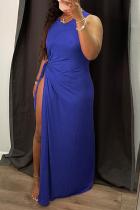 Blue Sexy Solid High Opening O Neck Irregular Dress Dresses