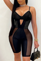 Black Sexy Solid Hollowed Out Spaghetti Strap Skinny Jumpsuits