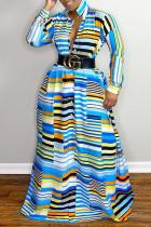 Blue British Style Striped Print Split Joint Turndown Collar Shirt Dress Dresses