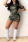 Green Sexy Camouflage Print Ripped O Neck Pencil Skirt Dresses