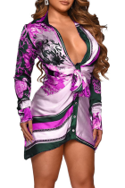 Purple Sexy Print Split Joint Shirt Dress Dresses