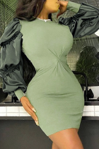 Army Green Sexy Solid Split Joint O Neck Pencil Skirt Dresses