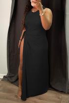 Black Sexy Solid High Opening O Neck Irregular Dress Dresses