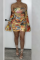 Gold Sexy Print Split Joint Off the Shoulder Pencil Skirt Dresses