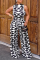 Black And White Sexy Print Split Joint Half A Turtleneck Straight Jumpsuits