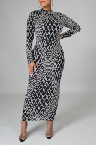 Black And White Sexy Print Split Joint Zipper Collar Pencil Skirt Dresses