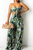 Green Sexy Print Split Joint With Bow Strapless Sleeveless Two Pieces