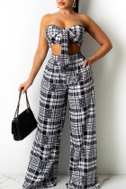 Black Sexy Print Split Joint With Bow Strapless Sleeveless Two Pieces