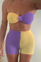 Yellow Purple Sexy Solid Split Joint Knotted  Contrast Strapless Sleeveless Two Pieces