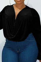 Black Casual Solid Mesh O Neck Plus Size Tops