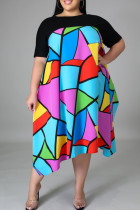 Black Casual Print Split Joint Asymmetrical O Neck Straight Plus Size Dresses