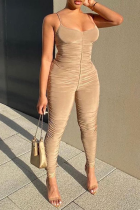 Grey Sexy Solid Split Joint Spaghetti Strap Skinny Jumpsuits