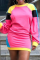 Pink Casual Solid Split Joint O Neck Straight Dresses