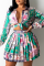 Green Casual Print Split Joint Turndown Collar Long Sleeve Two Pieces