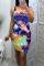 Purple Sexy Print Split Joint Strapless Pencil Skirt Dresses