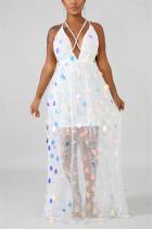 White Fashion Sexy Sequin Halter Dress