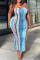 Blue Sexy Print Split Joint Strapless Pencil Skirt Plus Size Dresses
