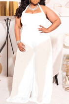White Sexy Solid Bandage Split Joint Halter Plus Size Jumpsuits
