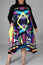 Stripe Casual Print Split Joint Asymmetrical O Neck Straight Plus Size Dresses