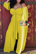 Yellow Casual Solid Bandage Split Joint Strapless Plus Size Jumpsuits