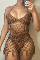 Camel Sexy Solid Hollowed Out Split Joint Swimwears