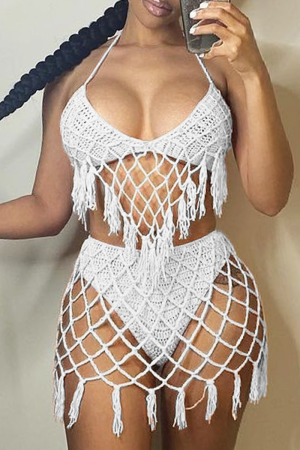 White Sexy Solid Hollowed Out Split Joint Swimwears