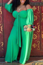 Green Casual Solid Bandage Split Joint Strapless Plus Size Jumpsuits