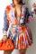 Orange Casual Print Split Joint Turndown Collar Long Sleeve Two Pieces