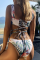 White Sexy Print Hollowed Out Split Joint Swimwears