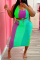 Green Sexy Casual Print Bandage U Neck Plus Size Two Pieces