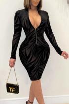 Black Sexy Print Split Joint Zipper Collar Pencil Skirt Dresses