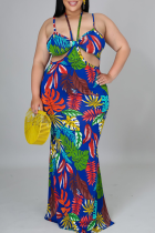 Blue Sexy Print Hollowed Out Halter Trumpet Mermaid Plus Size Dresses