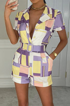 Purple Casual Geometric Print Split Joint Turn-back Collar Straight Jumpsuits