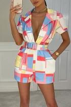 Red Casual Geometric Print Split Joint Turn-back Collar Straight Jumpsuits