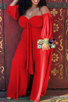 Red Casual Solid Bandage Split Joint Strapless Plus Size Jumpsuits