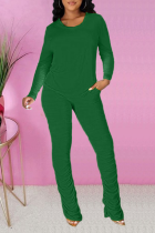 Green Casual Solid Fold O Neck Long Sleeve Two Pieces